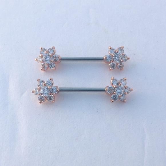 Jewelry 14g Rose Gold Flower Nipple Ring Shield Piercing Poshmark
